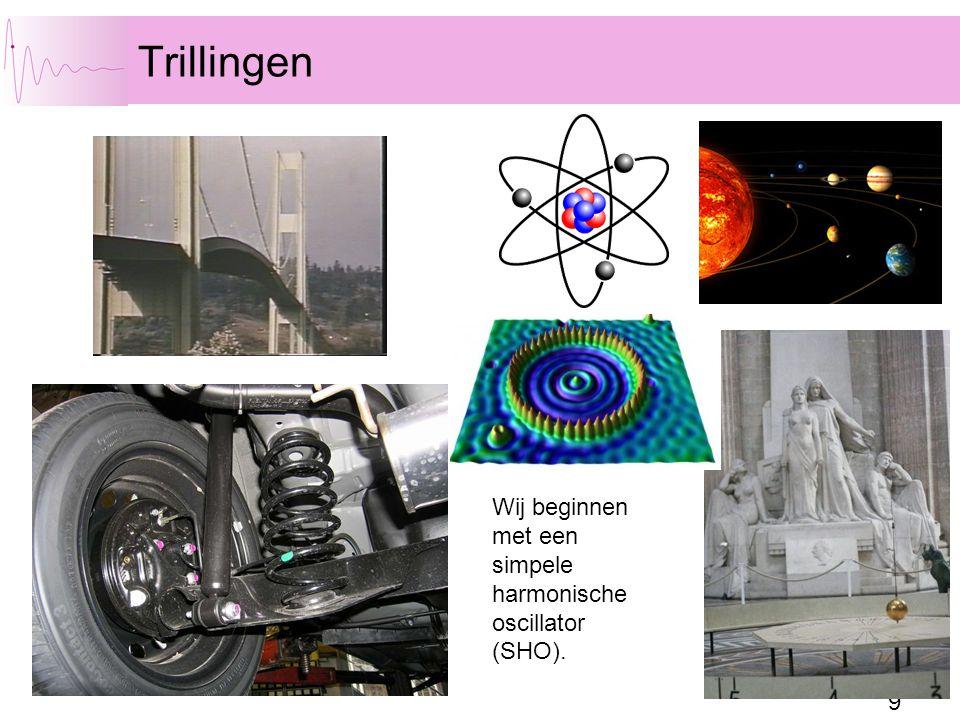 Trillingen Wij beginnen met een simpele harmonische oscillator (SHO).