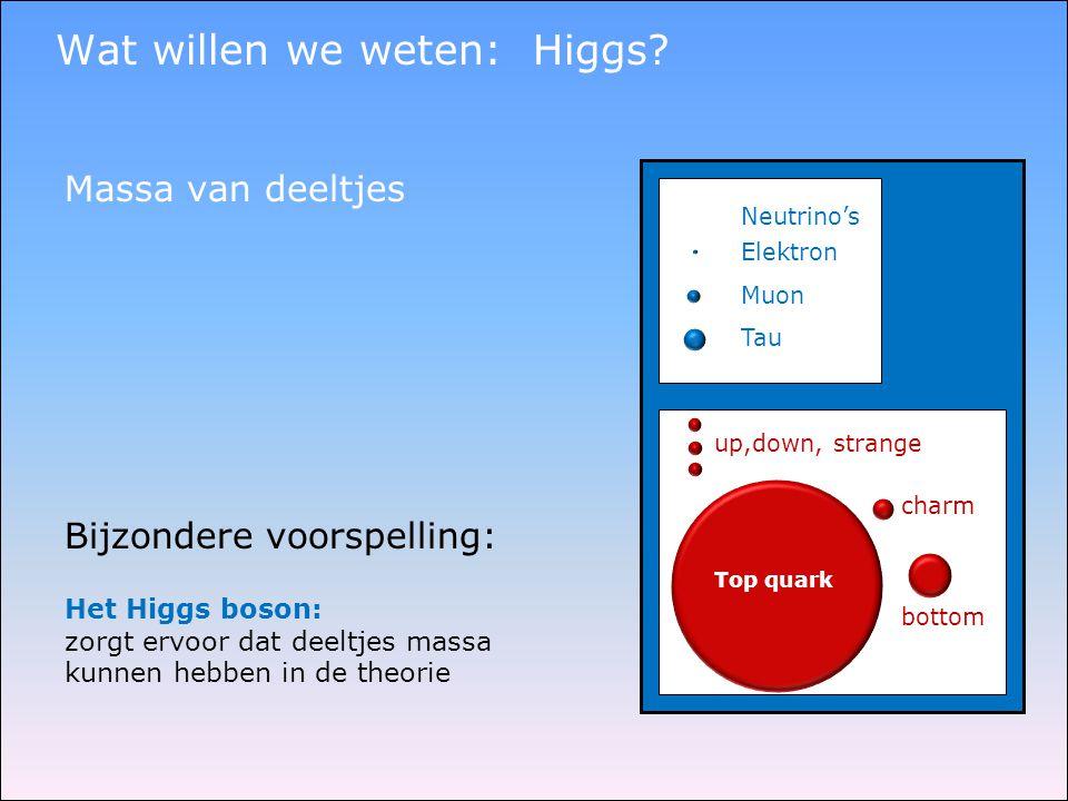 Wat willen we weten: Higgs