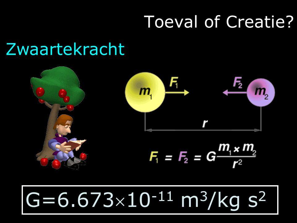 Toeval of Creatie Zwaartekracht G=6.67310-11 m3/kg s2