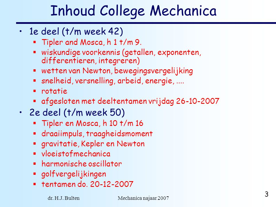 Inhoud College Mechanica