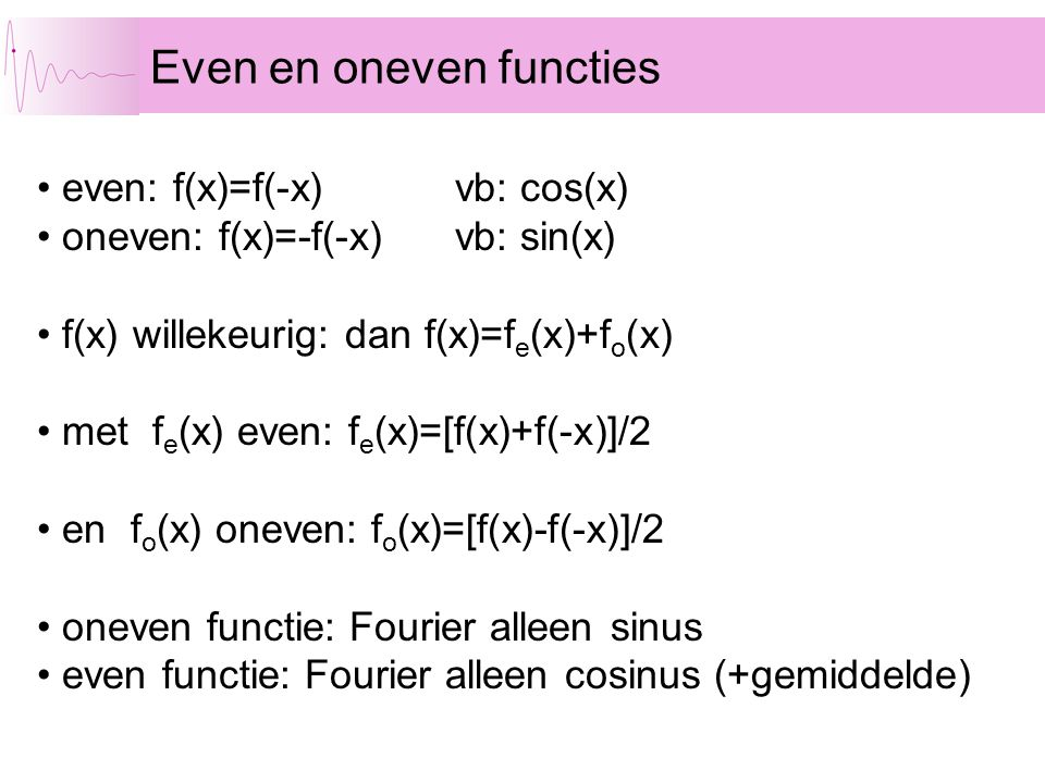 Even en oneven functies