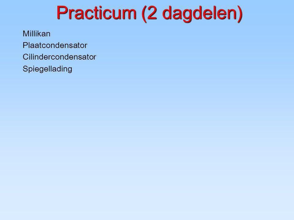Practicum (2 dagdelen) Millikan Plaatcondensator Cilindercondensator