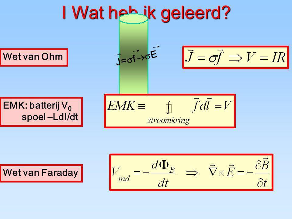 I Wat heb ik geleerd Wet van Ohm J=sf®sE EMK: batterij V0