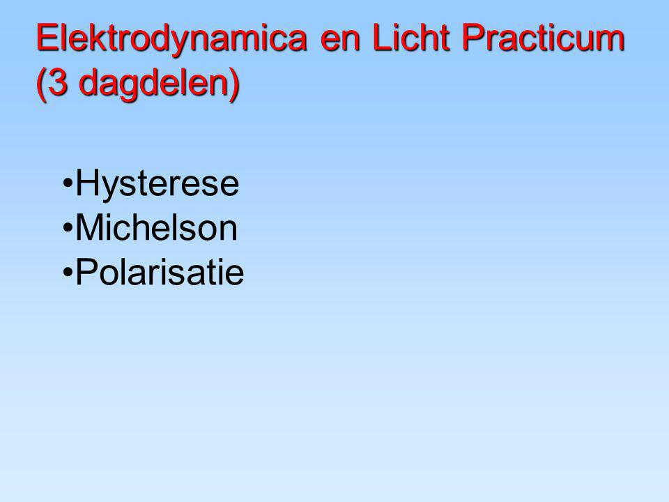 Elektrodynamica en Licht Practicum (3 dagdelen)