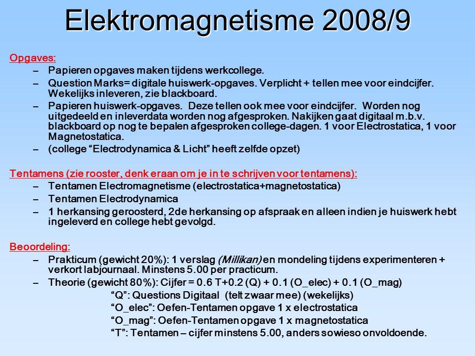 Elektromagnetisme 2008/9 Opgaves: