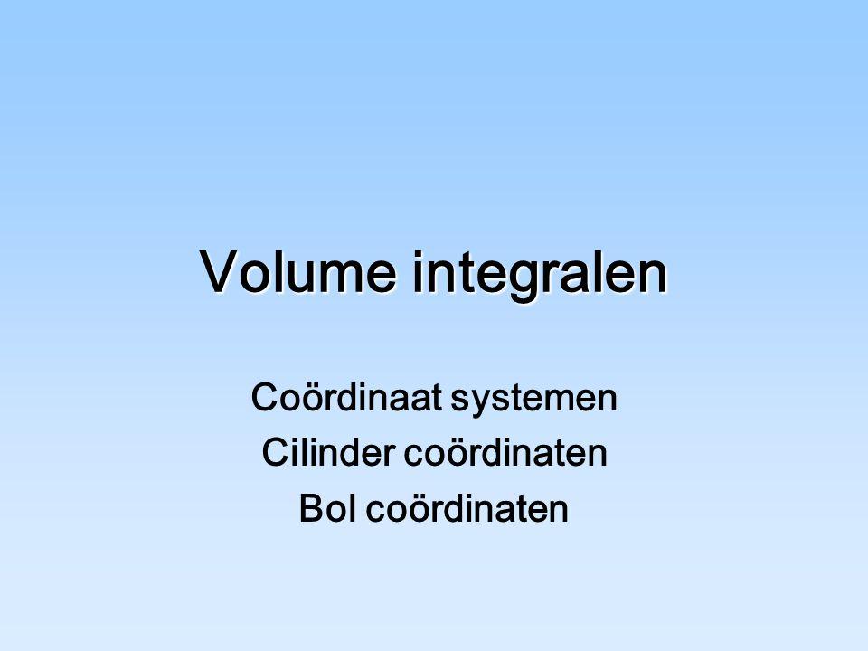 Coördinaat systemen Cilinder coördinaten Bol coördinaten