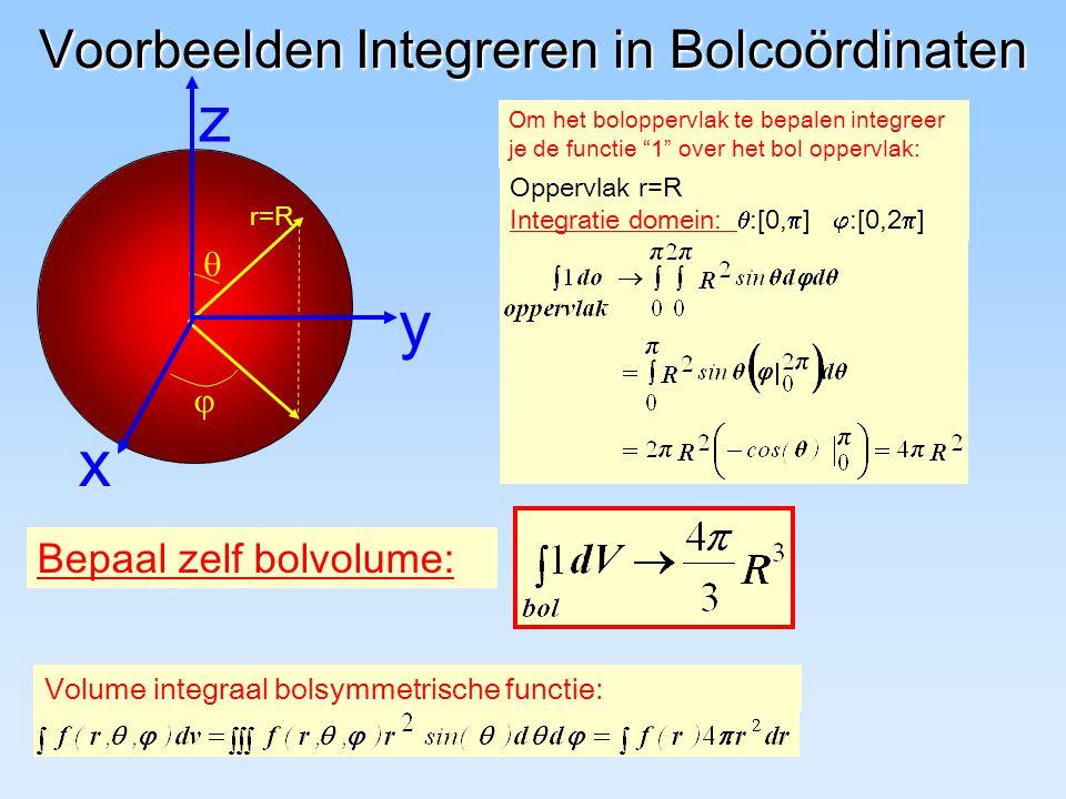 Voorbeelden Integreren in Bolcoördinaten