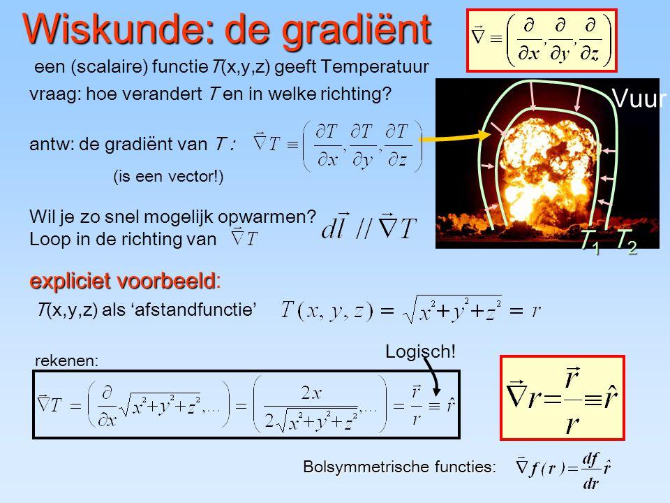 Wiskunde: de gradiënt Vuur T1 T2 expliciet voorbeeld:
