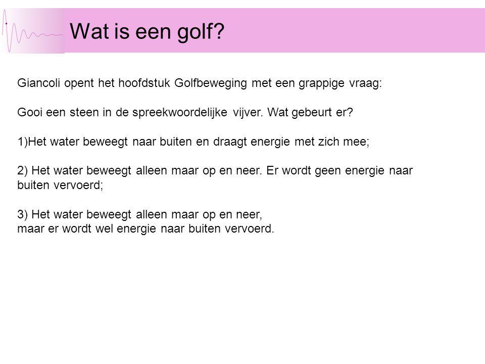 Wat is een golf Giancoli opent het hoofdstuk Golfbeweging met een grappige vraag: Gooi een steen in de spreekwoordelijke vijver. Wat gebeurt er
