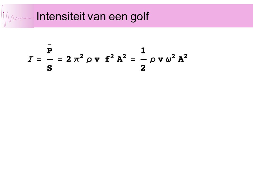 Intensiteit van een golf