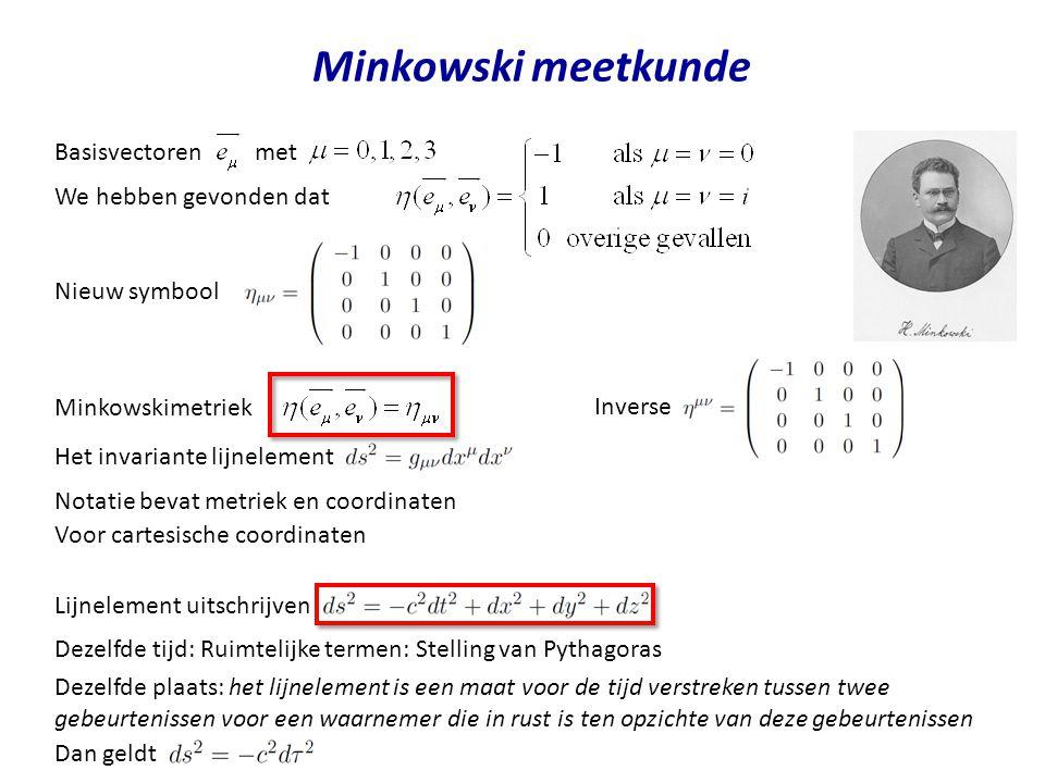 Minkowski meetkunde Basisvectoren met We hebben gevonden dat