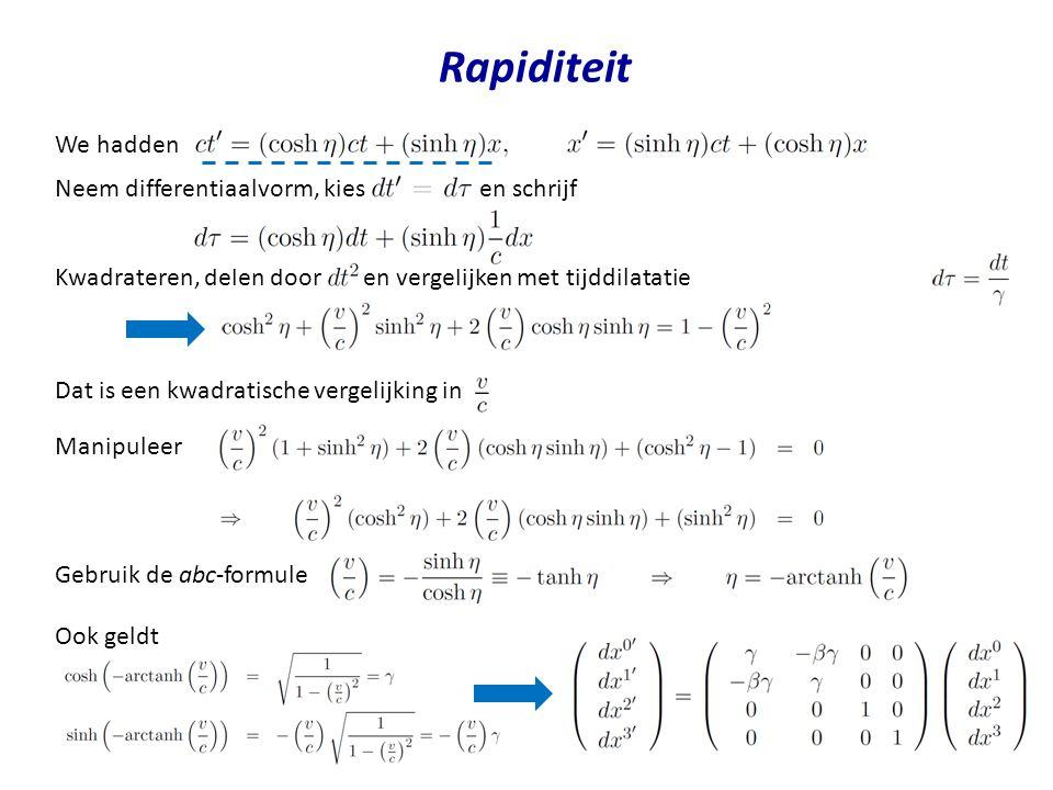 Rapiditeit We hadden Neem differentiaalvorm, kies en schrijf