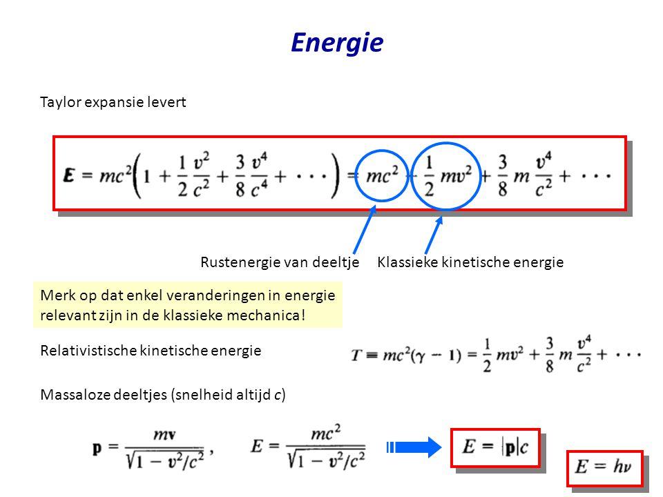 Energie Taylor expansie levert Klassieke kinetische energie