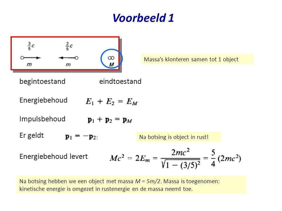 Voorbeeld 1 eindtoestand begintoestand Energiebehoud Impulsbehoud