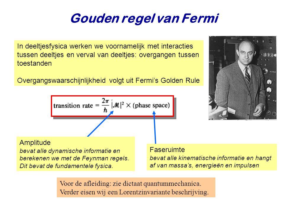 Gouden regel van Fermi In deeltjesfysica werken we voornamelijk met interacties tussen deeltjes en verval van deeltjes: overgangen tussen toestanden.