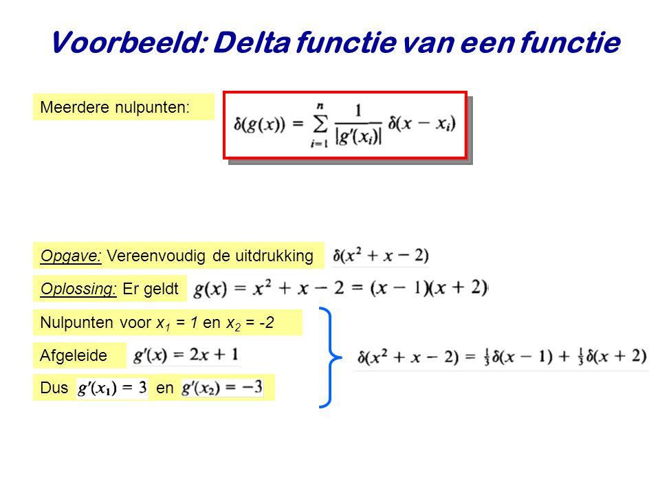 Voorbeeld: Delta functie van een functie