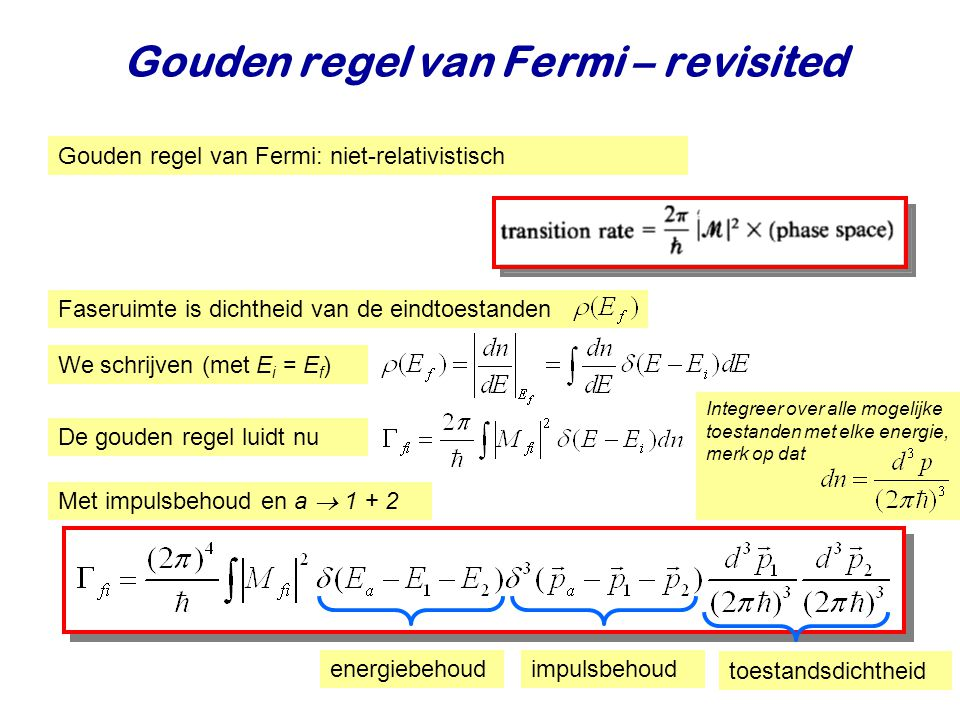 Gouden regel van Fermi – revisited