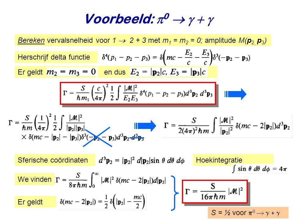 Voorbeeld: p0  g + g Bereken vervalsnelheid voor 1  2 + 3 met m1 = m2 = 0; amplitude M(p2, p3) Herschrijf delta functie.