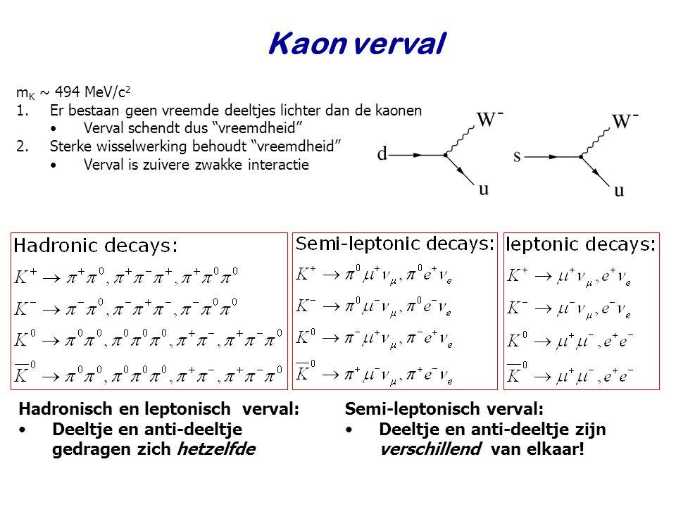 Kaon verval Hadronisch en leptonisch verval: