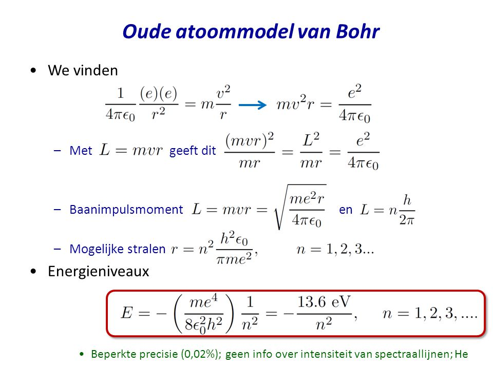 Oude atoommodel van Bohr