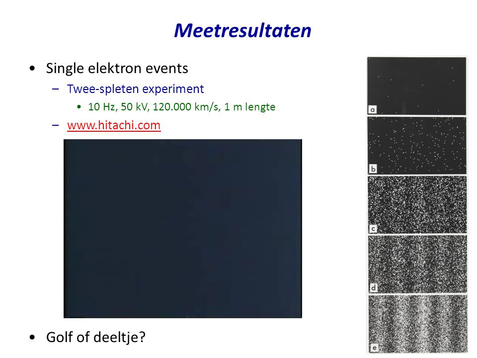 Meetresultaten Single elektron events Golf of deeltje