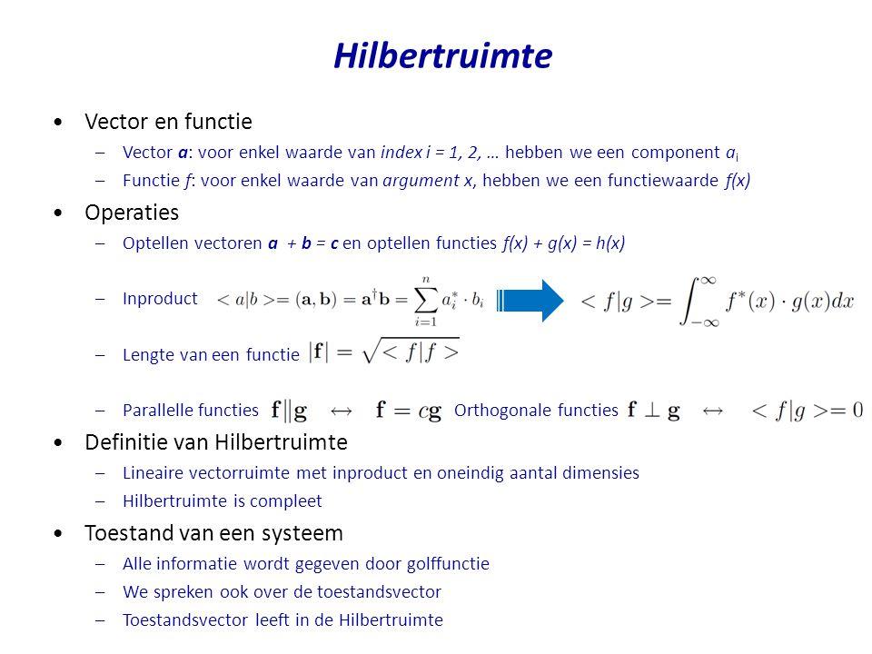Hilbertruimte Vector en functie Operaties Definitie van Hilbertruimte
