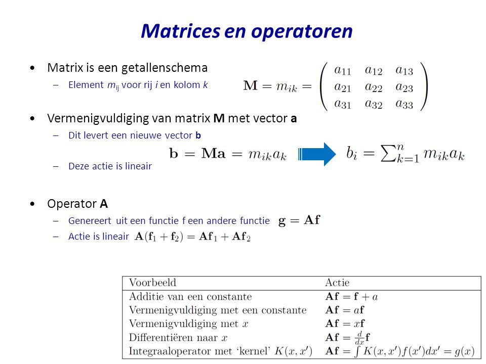 Matrices en operatoren