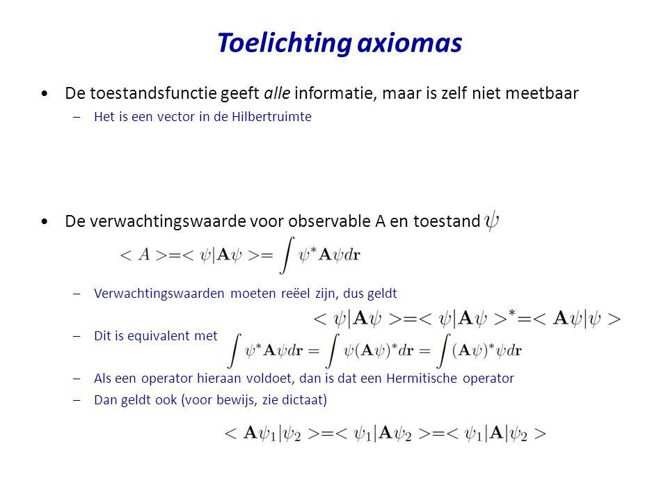 Toelichting axiomas De toestandsfunctie geeft alle informatie, maar is zelf niet meetbaar. Het is een vector in de Hilbertruimte.
