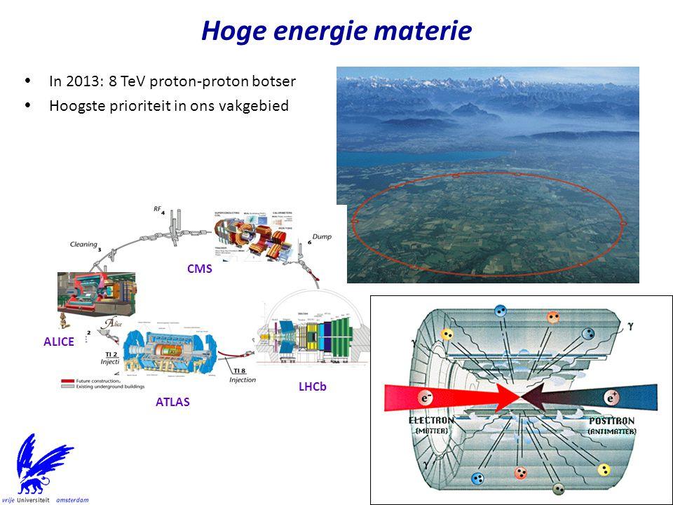 Hoge energie materie In 2013: 8 TeV proton-proton botser