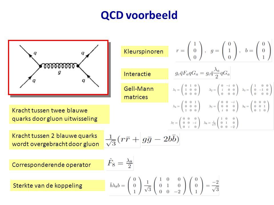 QCD voorbeeld Kleurspinoren Interactie Gell-Mann matrices