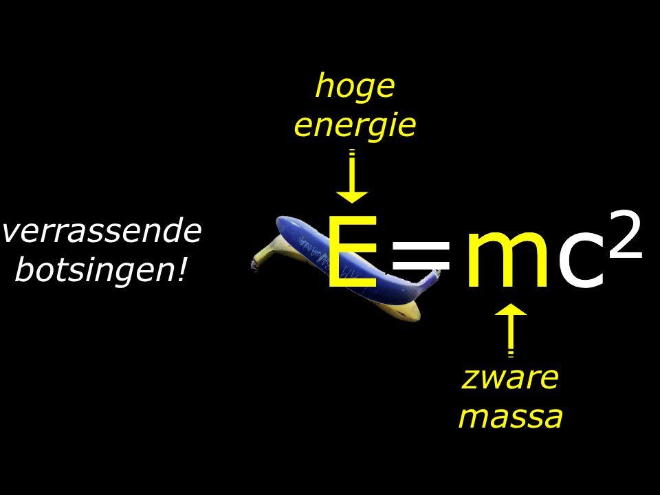 hoge energie E=mc2 E=mc2 verrassende botsingen! zware massa