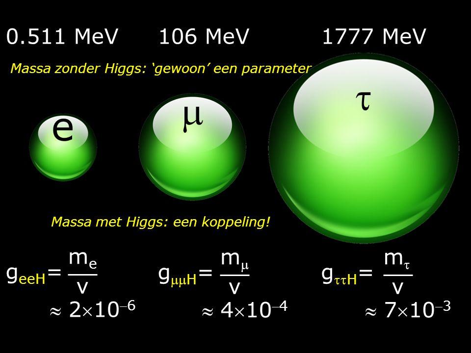   e 0.511 MeV 106 MeV 1777 MeV geeH=  2106 me v gH=  4104 m