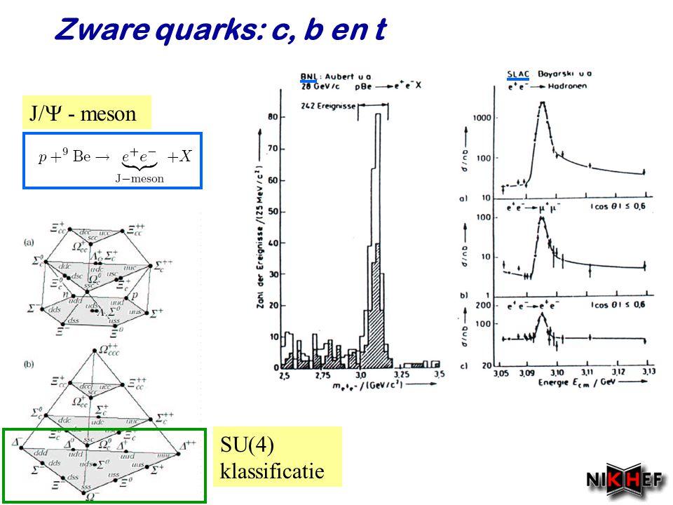 Zware quarks: c, b en t J/ - meson SU(4) klassificatie Najaar 2008