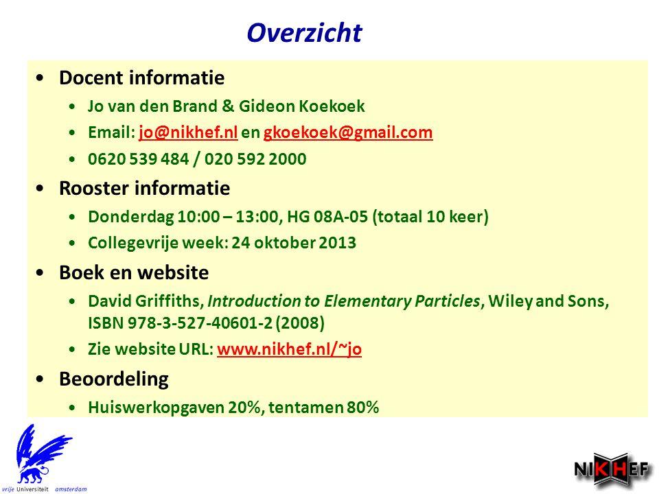 Overzicht Docent informatie Rooster informatie Boek en website