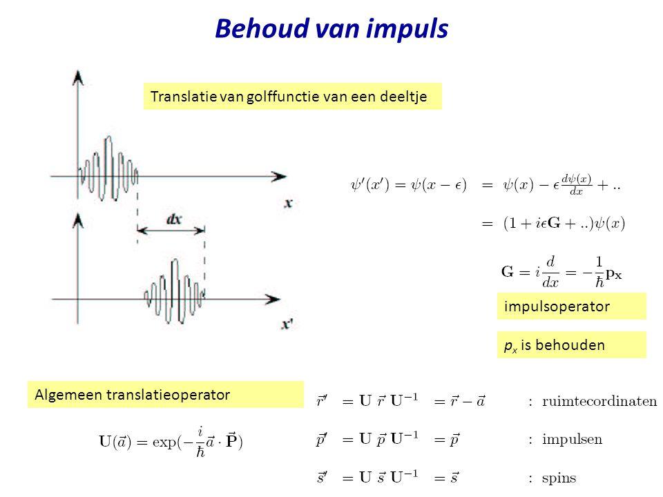 Behoud van impuls Translatie van golffunctie van een deeltje