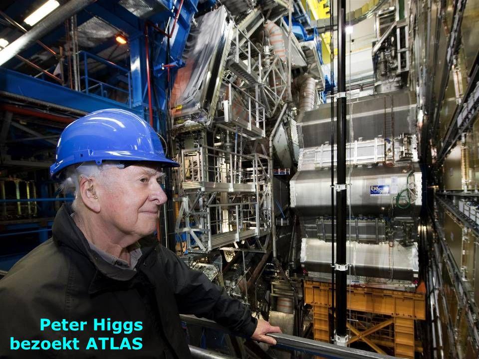 Peter Higgs bezoekt ATLAS