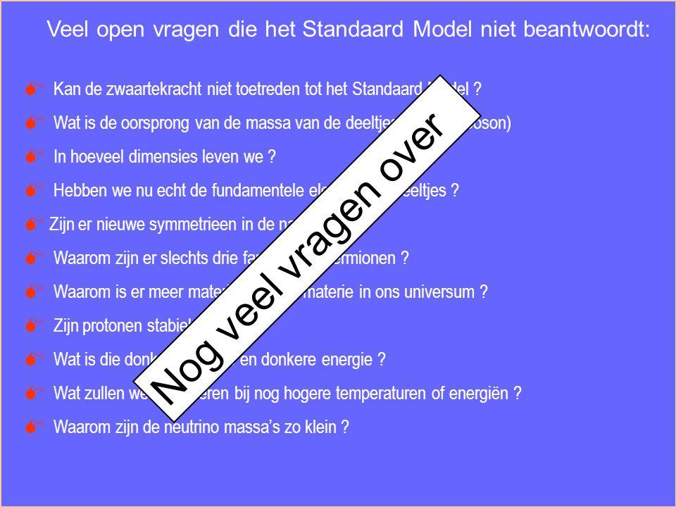 Veel open vragen die het Standaard Model niet beantwoordt:
