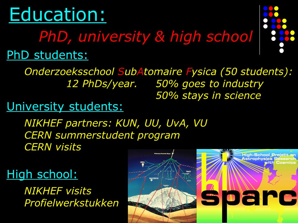 Education: PhD, university & high school