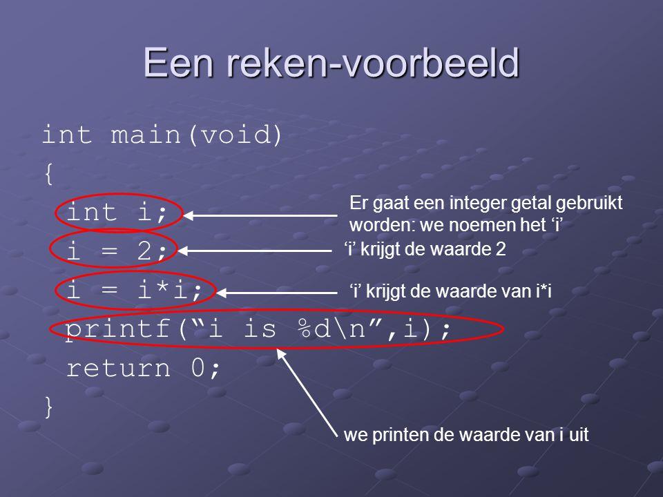 Een reken-voorbeeld int main(void) { int i; i = 2; i = i*i;