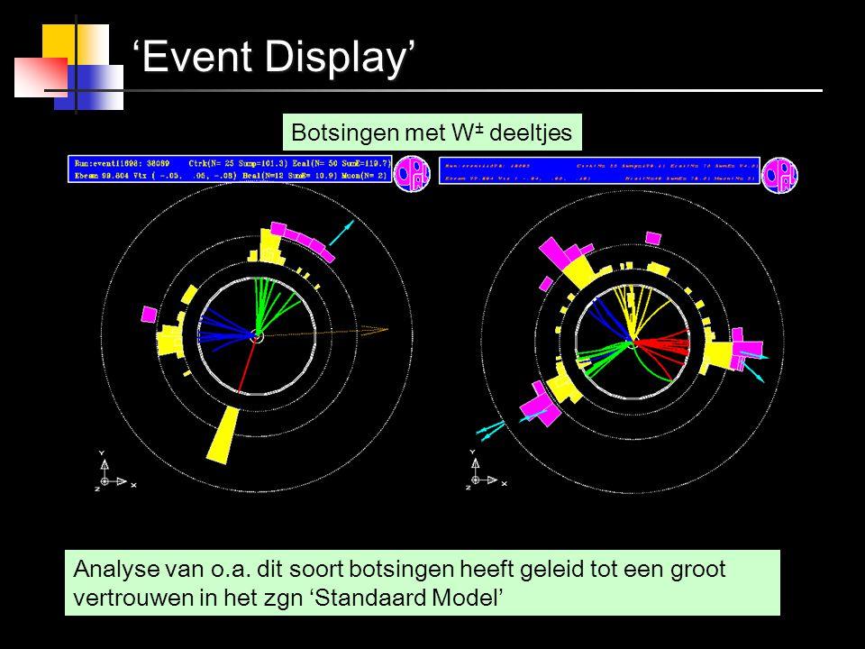 'Event Display' Botsingen met W± deeltjes