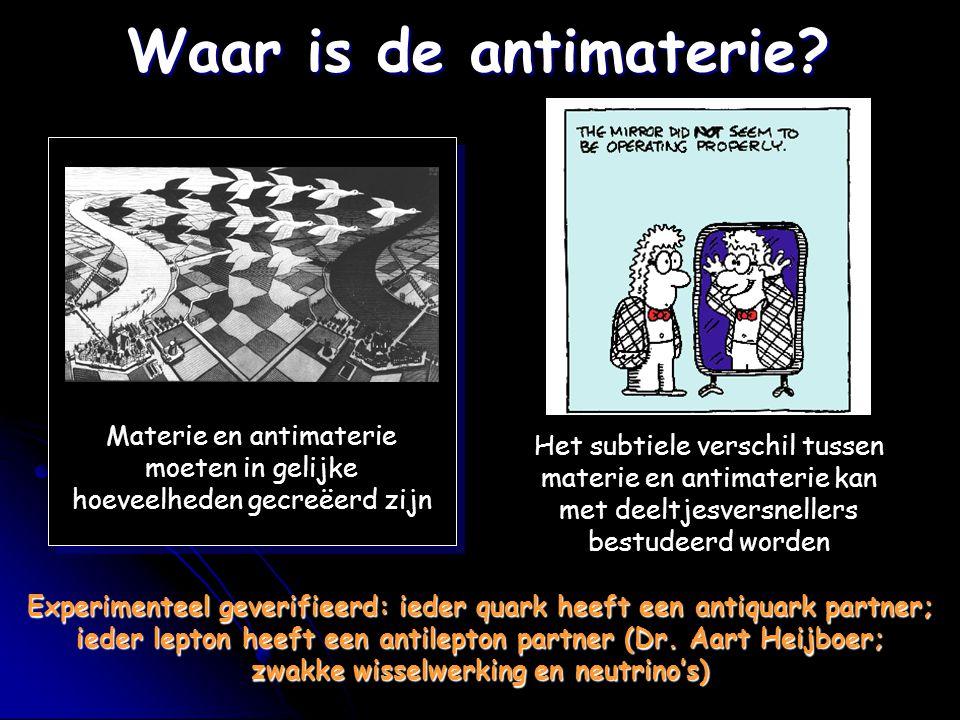 Waar is de antimaterie Materie en antimaterie moeten in gelijke hoeveelheden gecreëerd zijn.