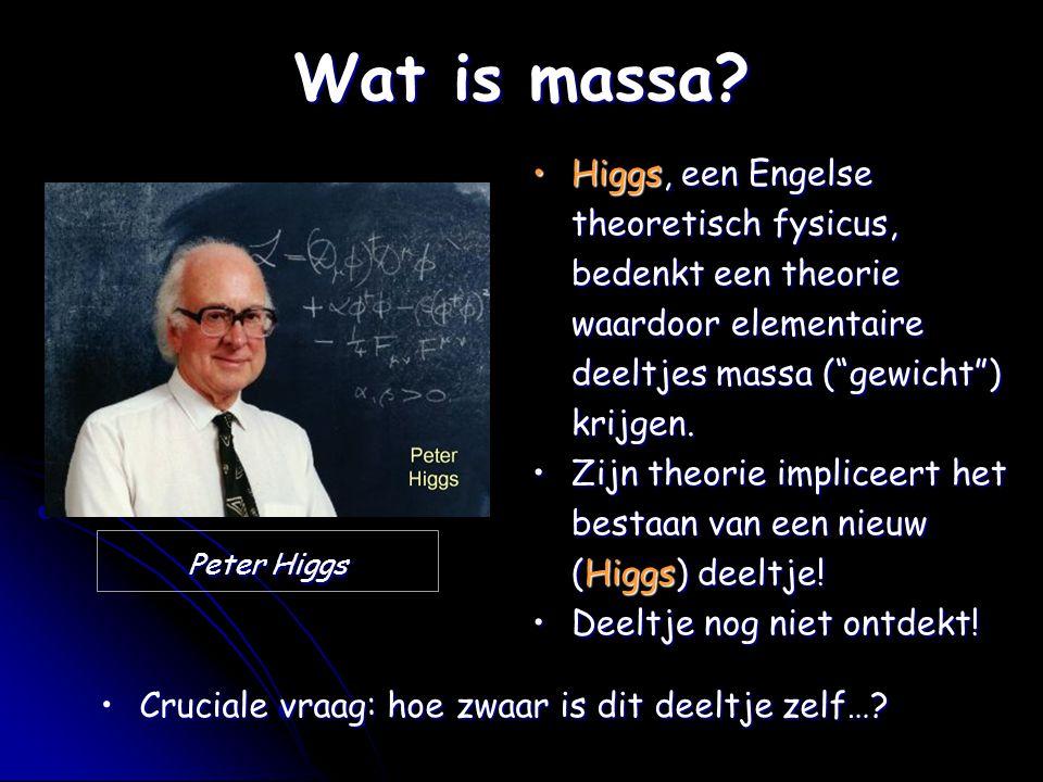 Wat is massa Higgs, een Engelse theoretisch fysicus, bedenkt een theorie waardoor elementaire deeltjes massa ( gewicht ) krijgen.