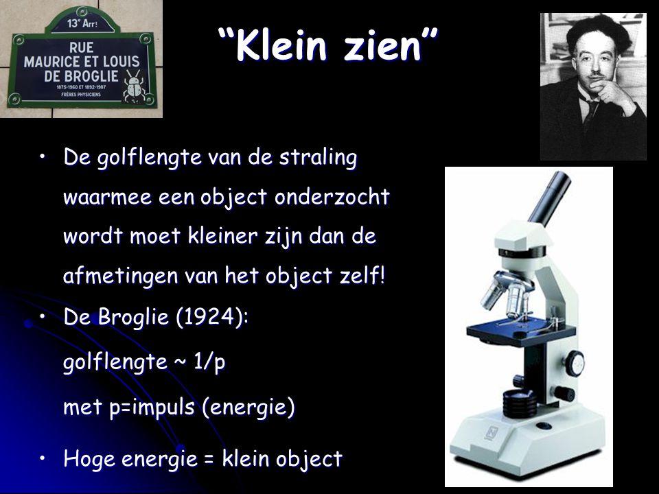 Klein zien De golflengte van de straling waarmee een object onderzocht wordt moet kleiner zijn dan de afmetingen van het object zelf!