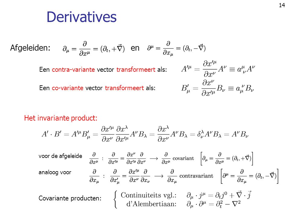 Derivatives Afgeleiden: en Het invariante product: