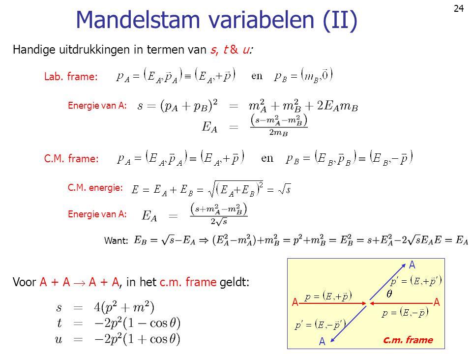 Mandelstam variabelen (II)