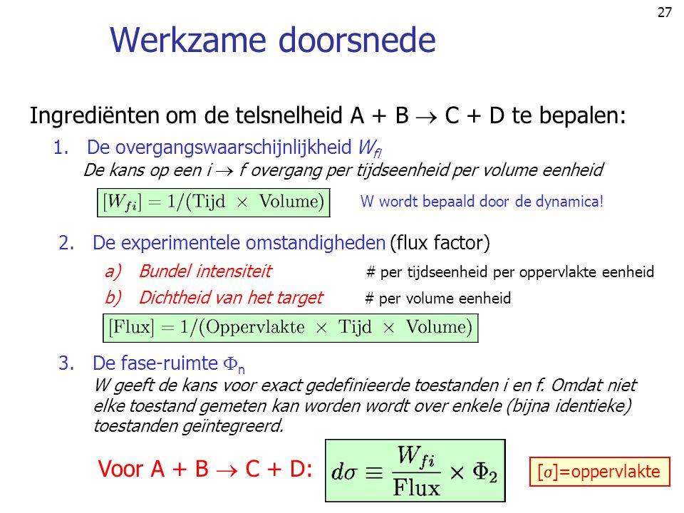 Werkzame doorsnede Ingrediënten om de telsnelheid A + B  C + D te bepalen: De overgangswaarschijnlijkheid Wfi.