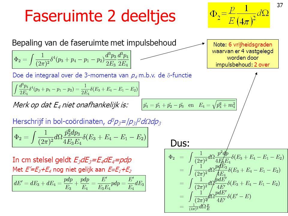 Faseruimte 2 deeltjes Dus: Bepaling van de faseruimte met impulsbehoud