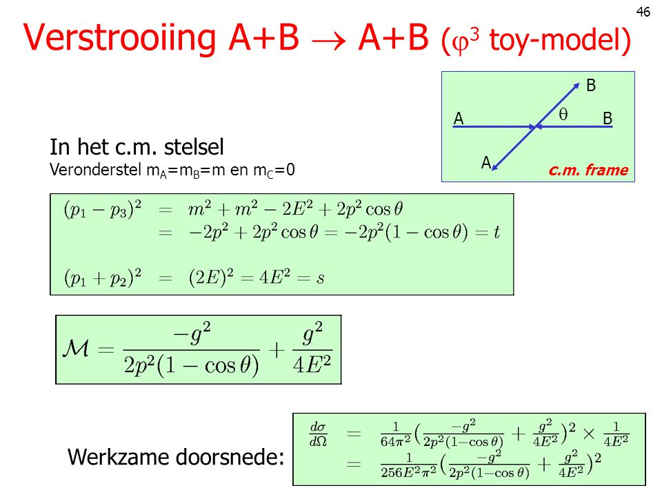 Verstrooiing A+B  A+B (3 toy-model)