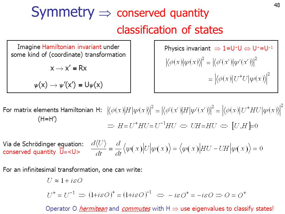 Symmetry  conserved quantity classification of states