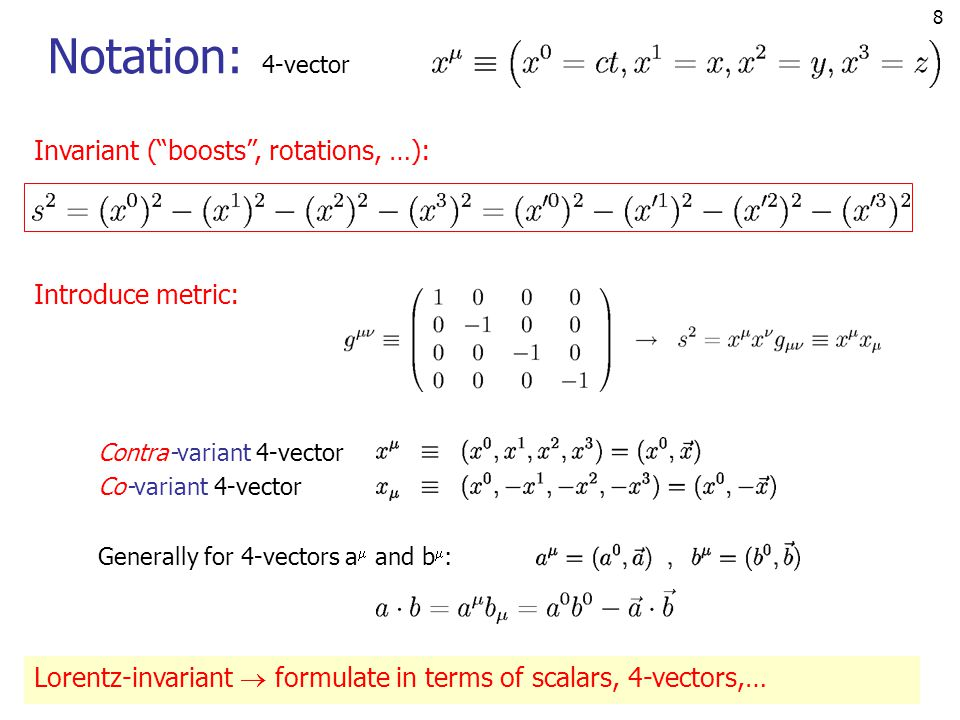 Notation: Invariant ( boosts , rotations, …): Introduce metric: